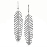 2.70ct Diamond & Platinum Feather Earrings made in USA by Dan Peligrad for Cynthia Scott Jewelry