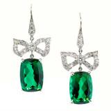 Green Tourmaline, Diamond, & Platinum Bow Earrings by Dan Peligrad for Cynthia Scott Jewelry