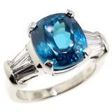 Blue Zircon and Diamond 18kt Classic Ring by Cynthia Scott Jewelry