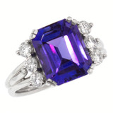 Vintage Tanzanite Diamond and Platinum Ring made in USA