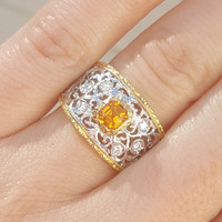 Mandarin Garnet 18kt Contessa Ring made in Florence, Italy by Cynthia Scott Jewelry