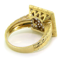 Carina Florentine Engraved 18kt Gold and Diamond Ring, Made in Italy for Cynthia Scott Jewelry