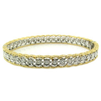 Stefania Florentine Engraved Diamond 18kt Bangle made in Italy for Cynthia Scott Jewelry