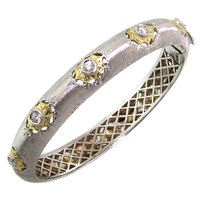 Olympia Florentine Engraved Diamond 18kt Bangle made in Italy for Cynthia Scott Jewelry