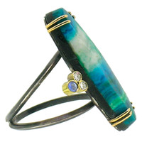 18kt and Sterling Shield Ring in Malachite, Chrysocolla, & Quartz made in USA by Cynthia Scott Jewelry