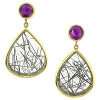 Purple Grape Garnet and Tourmalinated Quartz 18kt Earrings made in USA by Cynthia Scott Jewelry