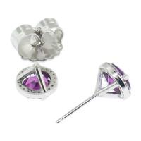Purple Grape Garnet & Diamond 18kt Martini Earring made in USA by Cynthia Scott Jewelry