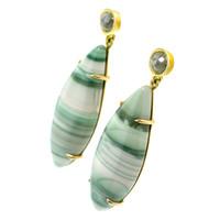 Saturn Chalcedony & Diamond 18kt Earrings made in USA by Cynthia Scott Jewelry