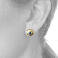Montana Sapphire Bianca Stud Earrings made in Italy by Cynthia Scott Jewelry