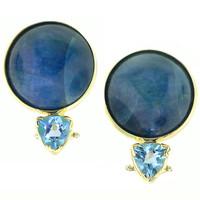 Cat's Eye Apatite & Aquamarine 18kt Earrings made in USA by Cynthia Scott Jewelry