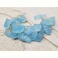 Rough Aquamarine & 18kt Bracelet