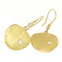 Diamond and 18kt Eucalyptus Earrings made by Dan Peligrad for Cynthia Scott Jewelry