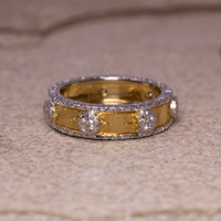 Florentine Engraved Diamond 18kt Eternity Band made in Florence, Italy for Cynthia Scott Jewelry