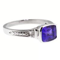1.90ct Tanzanite and Platinum Cassandra Ring, Made in USA by Dan Peligrad for Cynthia Scott Jewelry