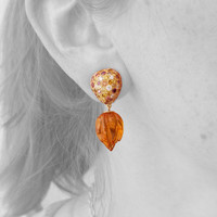 Carved Citrine and Colored Diamond 18kt Earrings made in USA by Dan Peligrad for Cynthia Scott Jewelry