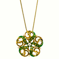 Antique Victorian Enamel and Seed Pearl Pendant