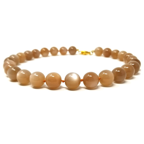 Peach Moonstone Beaded Necklace