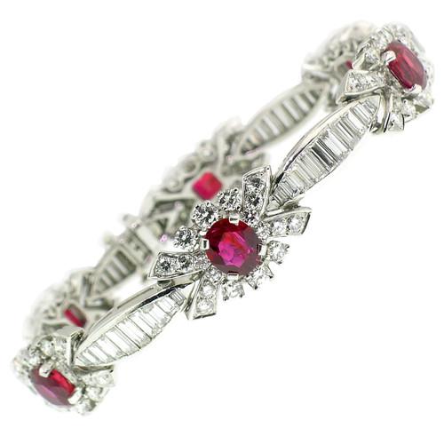 Ruby & Diamond Platinum Bracelet, Estate