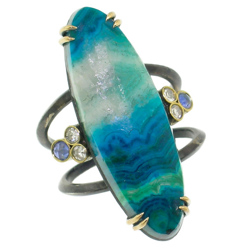 Shield Ring in Malachite, Chrysocolla, & Quartz