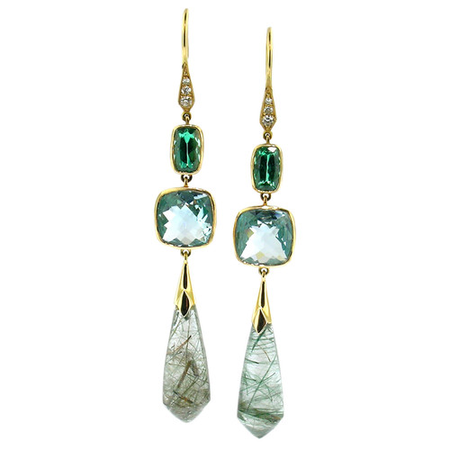 Tourmaline, Aquamarine, & Tourmalinated Quartz Earrings