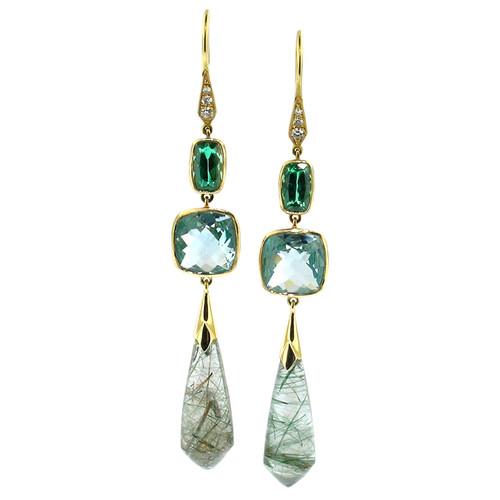 Tourmaline, Aquamarine, & Tourmalinated Quartz Earrings