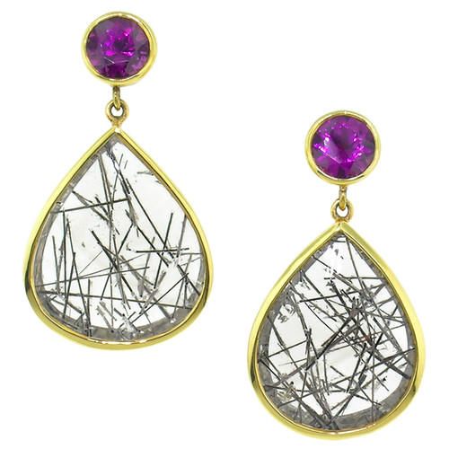 Grape Garnet and Tourmalinated Quartz Earrings