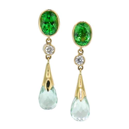 Tsavorite Garnet and Mint Tourmaline Earrings