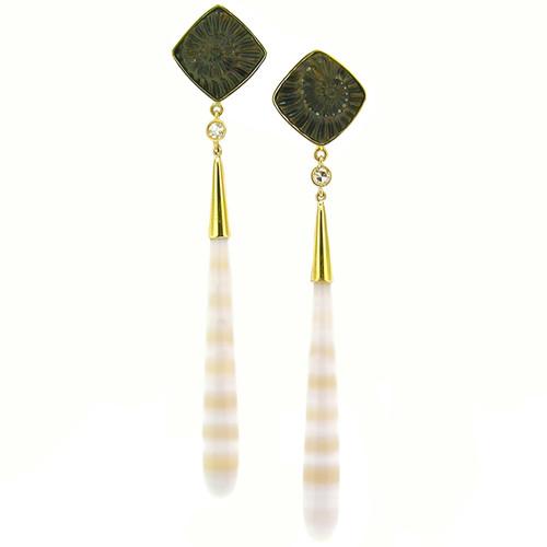 Ammonite Negative and Shadow Agate Earrings