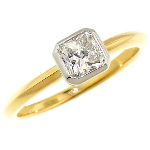 Radiant Cut Diamond in Platinum & 18kt Ring