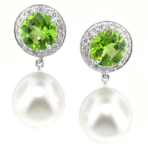 Peridot and South Sea Pearl Earrings