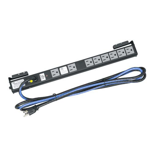 15 AMP Shelf Mount Power Strip, 8 Outlets