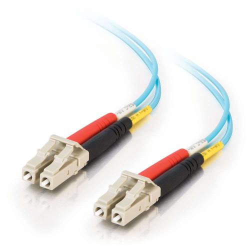 1m LC-LC 10Gb 50/125 OM3 Duplex Multimode Fiber Optic Cable - Plenum CMP-Rated - Aqua