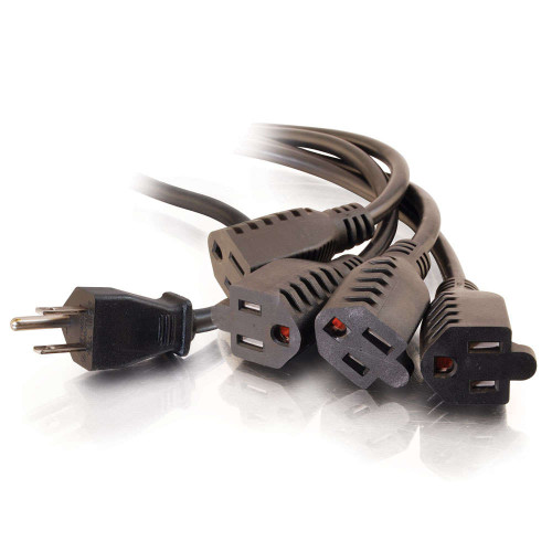 6ft 16 AWG 1-to-4 Power Cord Splitter (1 NEMA 5-15P to 4 NEMA 5-15R) (TAA Compliant)
