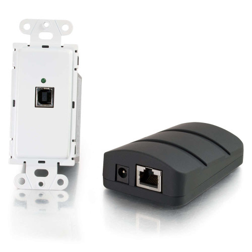 USB 2.0 Over Cat5 Superbooster Wall Plate Transmitter to Dongle Receiver Kit