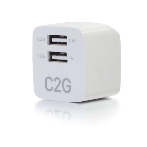 2-Port USB Wall Charger - AC to USB Adapter, 5V 2.1A Output