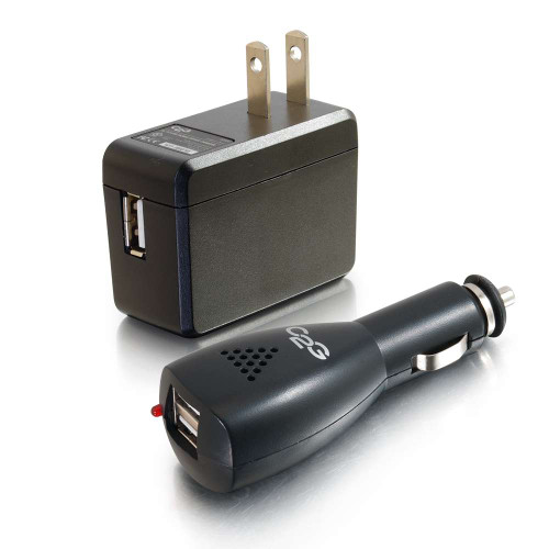 AC and DC to USB Travel Charger Bundle