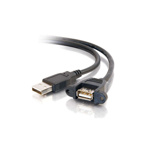 2ft Panel-Mount USB 2.0 A Male to A Female Cable