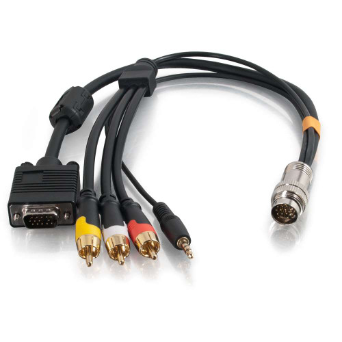 1.5ft RapidRun VGA (HD15) + 3.5mm + Composite Video + Stereo Audio Flying Lead