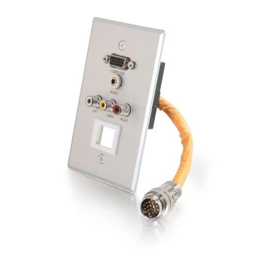 RapidRun Single Gang VGA (HD15) + 3.5mm + Composite Video + Stereo Audio + Keystone Wall Plate - Brushed Aluminum