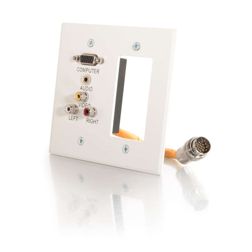 RapidRun Double Gang Integrated VGA (HD15) + 3.5mm + Composite Video + Stereo Audio + Wall Plate - White