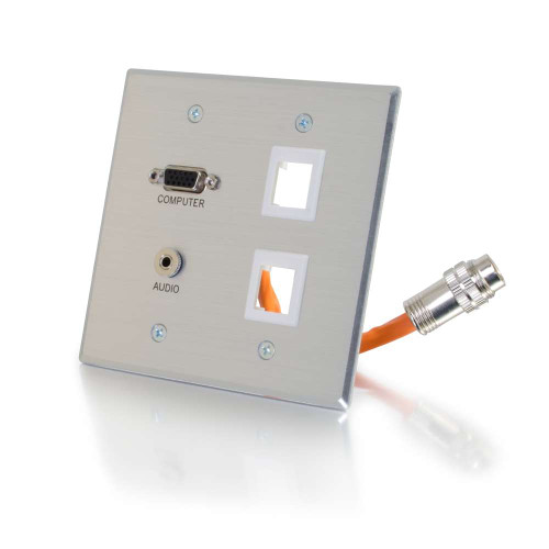 RapidRun VGA(HD15) + 3.5mm Stereo + 2 Keystones Audio Double Gang Wall Plate - Brushed Aluminum