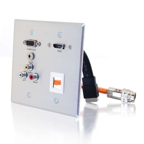 RapidRun Double Gang HD15 + 3.5mm + Composite Video + Stereo Audio + Keystone + HDMI Pass Through Wall Plate