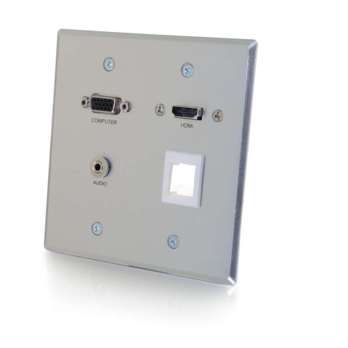 RapidRun VGA + 3.5mm Audio Double Gang Wall Plate with HDMI Pass Through + One Keystone