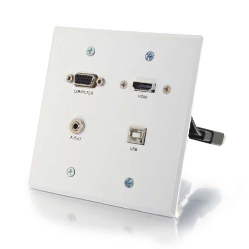 RapidRun VGA + 3.5mm Double Gang Wall Plate + HDMI and USB Pass Through - White