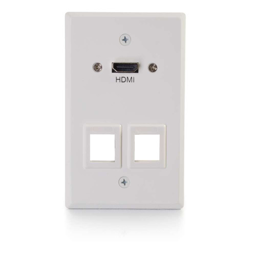 HDMI Pass Through Single Gang Wall Plate with Two Keystones - White