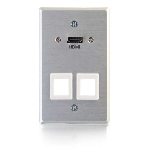 HDMI Pass Through Single Gang Wall Plate with Two Keystones - Aluminum