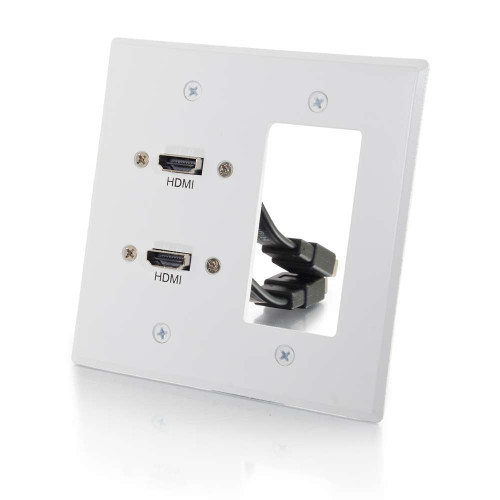Dual HDMI Pass Through Double Gang Wall Plate with One Decorative Cutout - White