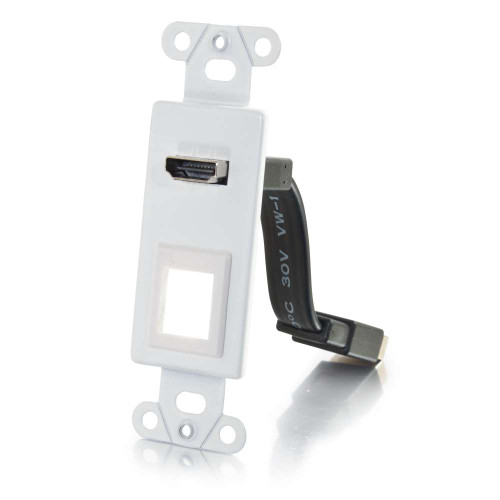 HDMI Pass Through Decorative Wall Plate with One Keystone - White