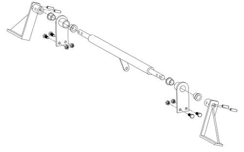 Brake System Assembly Kit, orange (includes brake shaft, brake pivot mount, Left and Right bracket, nylon bushing, and hardware) - Mower: 36BB (2017 and older models)
