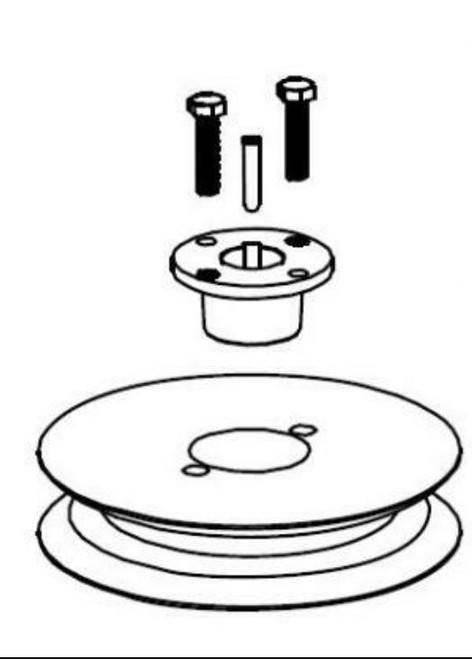 Pulley, 62Z, deck pulley and taper lock bushing and hardware (2017)